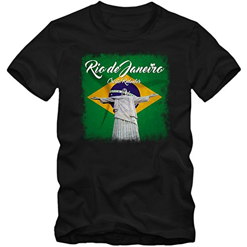 Rio Christo Redentor T-Shirt   Brasilien   Herren   Copacabana   Fußball, Farbe:Schwarz (Deep Black L190);Größe:M