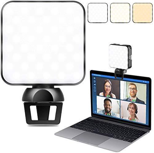 LUOWAN Luce LED Video Light con Clip,Luce per Videoconferenza, Kit Luci Da Conferenza Luminosità Regolabile Illuminazione Zoom per Laptop per...