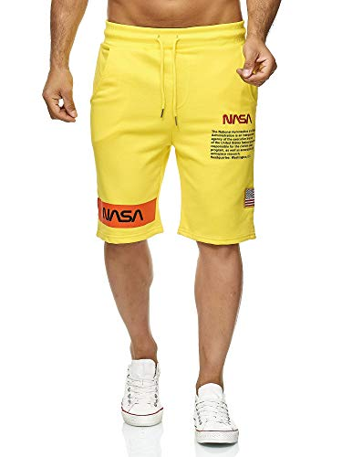 Red Bridge Herren Shorts Kurze Hose Sweat Pants Jogginghose NASA Logo USA M4854 Gelb XL
