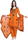 EthnicJunction Women Chanderi Cotton Un-stitched Salwar Kameez Dress Material (EJ1180-88029_Orange_Free Size)