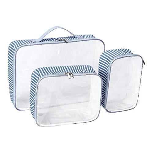 Organizador de malas 3 peças - azul, Batistela Baby, Transparente