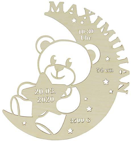 LAUBLUST Schlummerlicht Mond-Bär - Personalisiertes Baby-Geschenk zur Geburt & Taufe - LED Hintergrund-Beleuchtung