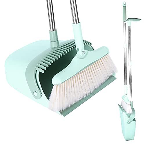 ほうきちりとり立ち掃除セット、掃除用品、角度調節可能、4層毛、防風、ほうきコンパクト収納、曲がらずに掃除できる、屋内、屋外、コンビニエンスストア、玄関、庭