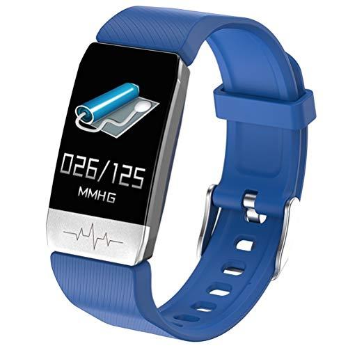 RongWang Pulsera Inteligente con medición inmune a la Temperatura Pulsera de Fitness ECG Frecuencia cardíaca Presión Arterial Recordatorio de Llamada (Color : Blue)