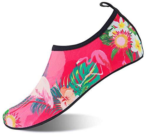 Mabove Schwimschuhe Damen Herren Badeschuhe Strandschuhe Wasserschuhe Aquaschuhe Neopren Surfschuhe Barfuß Schuhe für Sommer(Flamingo.Pink, (EU 37/38, Asian 38/39)