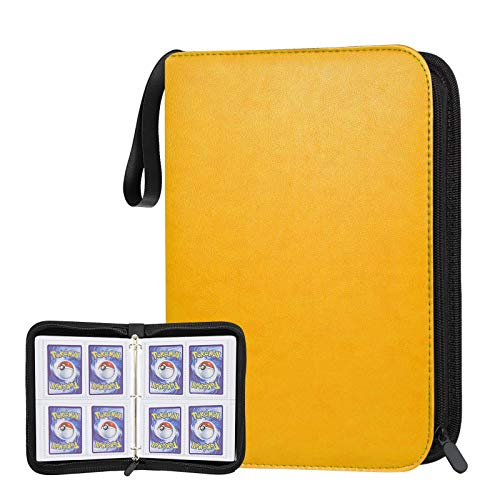 POKONBOY 400 Pockets Baseball Card Binder Holder, Trading Card Sleeves Compatible with Pokemen, Football and Sports Cards, Card Binder with Zipper, Sheets for TCG(Yellow)