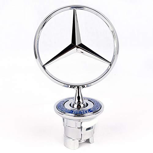 COMPATIBILE OEM 4X Set Coprimozzo per Mercedes da 75mm Blu Tappi Cerchi Lega Logo Stemma Borchie【 Portachiavi in Pelle】