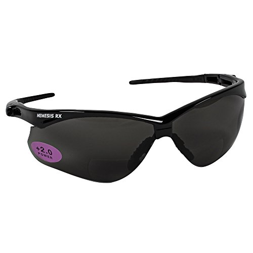KleenGuard (formerly Jackson Safety) V60 Nemesis Vision Correction Safety Sunglasses (22518), Smoke Readers with +2.0 Diopters, Black Frame, 6 Pairs / Case