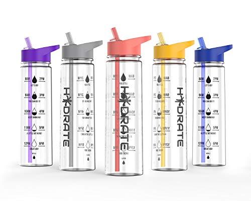 hydrate Motivational - Botella de Agua (900 ml, sin BPA), Coral