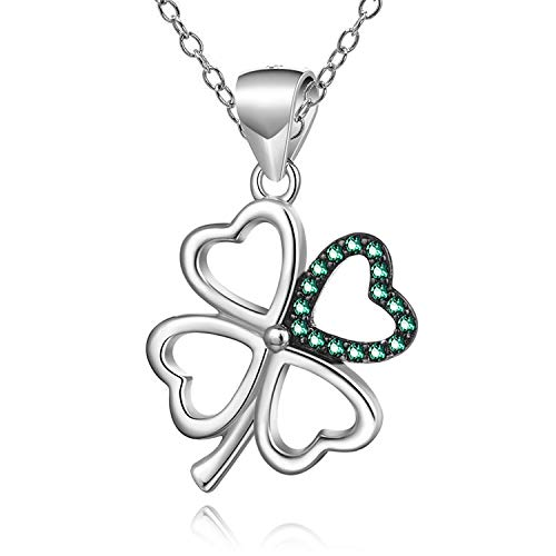 Sterling silver Four Leaf Clover Shamrock Celtic Irish Pendant Necklace with 18' Chain and gift box. Great woman's gift for Christmas or Birthday's