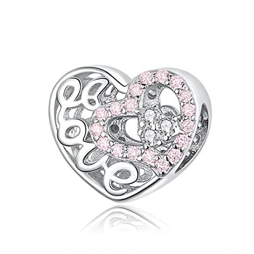WMYDYBD Cuentas de corazón de Amor de Plata de Ley 925, dijes calados de circonita Rosa, Colgante de Pulsera Original para joyería de Mujer