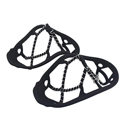 brightsen Calzas de tracción que se ajustan a los zapatos crampones resistentes a la abrasión para caminar de forma segura y senderismo en nieve y hielo estabilidad en todas las direcciones.