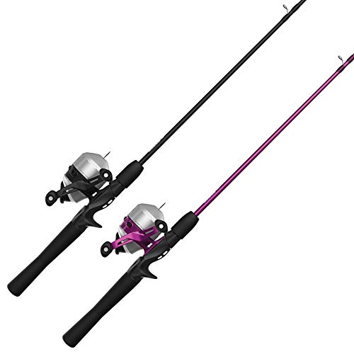Zebco 33 Spincast Reel and Fishing Rod Combos (2-Pack), 5-Foot 6-Inch 2-Piece Fiberglass Rods with EVA Handle, Quickset Anti-Reverse Fishing Reels with Bite Alert, 1-Pink, 1-Black