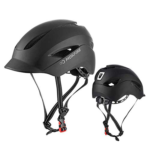 Adult Bicycle Helmet Classic Urban Commuter Bike Helmet Hat Tongue Design Rechargeable USB Safety Light Road Cycling Helmet Adjustable Size for Men Women 22442441 InchesMatte Black