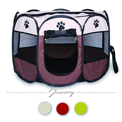 Jamory Hundehütte Tierlaufstall Laufstall Hunde Abdeckung Hundezelt Outdoor oder Indoor (Weiß)