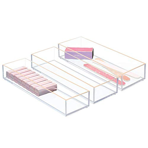 mDesign Plastic Drawer Organizer, Storage Container for Cosmetics, Makeup, and Accessories on Vanity, Countertop, Bathroom, or Cabinet - Lumiere Collection - 3 Pack - Clear/Rose Gold