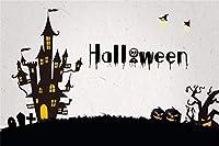 Amxxy 7x5ftハロウィーンムーンナイト背景怖いお化け城ホラー墓地写真背景クロス墓地ソーサレスゴースト墓石魔女しかめっ面パンプキンランタンパーティーフォトスタジオ小道具
