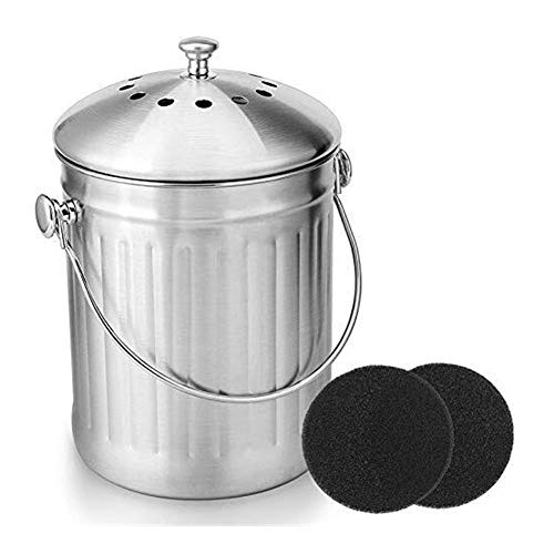 Read About Peel Bucket for Home Kitchen Compost Bin with Handle and 2 Charcoal Filters for Kitchen F...