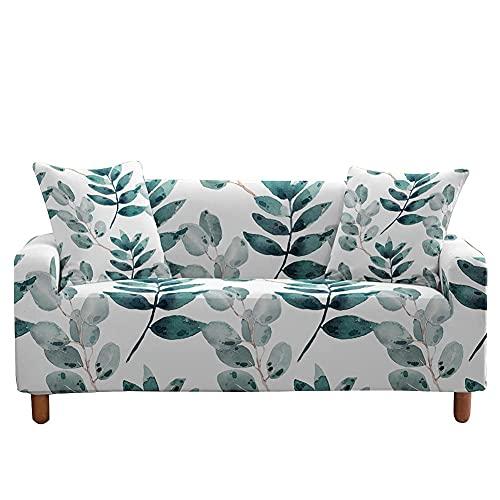 JXYQ Funda para sofá de 1 2 3 4 Asiento, Hoja de Planta, Tela elástica elástica Estampada, Lavable, para sillón, Funda Protectora para sofá, decoración para sofás de Cuero, sofá de Dos