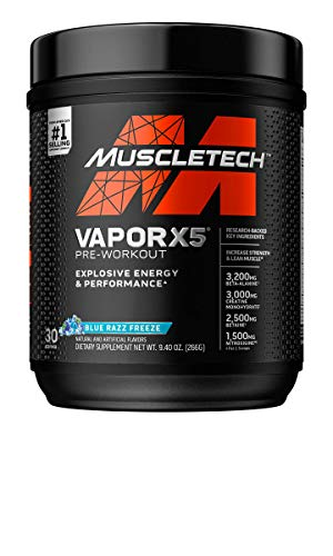 Pre Workout Powder   MuscleTech Vapor X5   Pre Workout Powder for Men & Women   PreWorkout Energy Powder Drink Mix   Sports Nutrition Pre-Workout Products   Blue Raspberry (30 Servings)-Package Varies