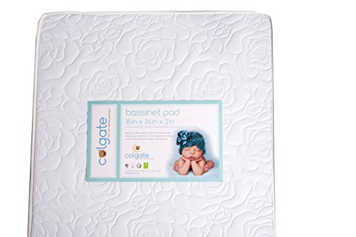 Cradle/Bassinet Mattress by Colgate Mattress| Comfortable Design | Waterproof & Non-Toxic | GREENGUARD Gold Certified | 18' X 36' X 2'