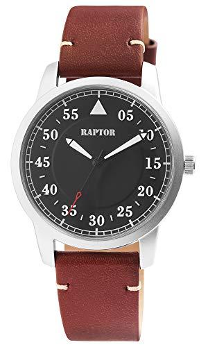Raptor Herren-Uhr Echt Leder Armband Leuchtende Zeiger Analog Quarz RA20284 (braun/anthrazit)