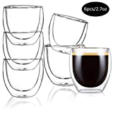 Aiboria Glass Coffee Mugs Set of 6, Double Walled Thermo Insulated Glasses Mugs Espresso Tea Cups 2.7 Ounce, Crystal Clear Glass Wine Cup, Espresso Coffee Gifts
