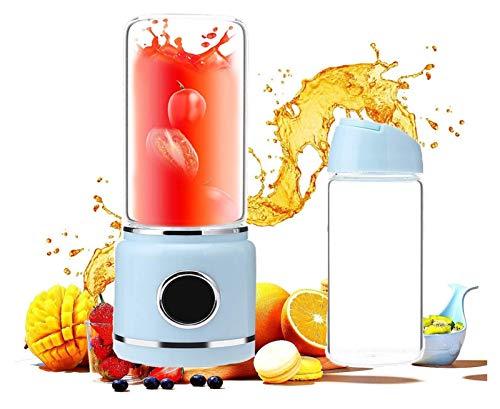 Blender portátil, licuadora personal for batidos y batidos, botella de licuadora USB recargable de 500 ml con 6 cuchillas, mezclador de frutas de viajes pequeña máquina de exprimidor, azul licuadoras