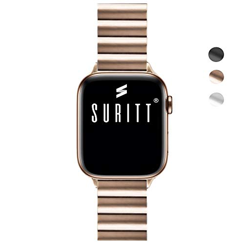 Suritt ® Correa para Apple Watch de eslabones Fabricada en Acero Inoxidable Berlin (Negro - Plata - Oro) (Series 1, 2, 3, 4 y 5) (42mm / 44mm, Gold)