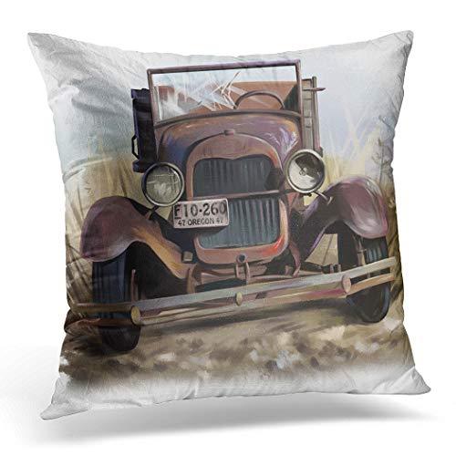 Awowee Funda de cojín de 45 x 45 cm, diseño de acuarela de coche antiguo oxidado, diseño de cesta de flores y cubos de color de color para decoración del hogar, funda de cojín para sofá o cama, poliéster, 16'x 16'