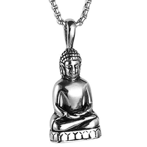 HIJONES Herren Edelstahl Gold/Silber Vintage Amitabha Buddha Statue Anhänger Halskette Silber