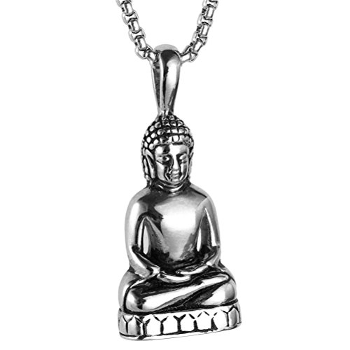 HIJONES Men's Stainless Steel Gold/Silver Vintage Amitabha Buddha Statue Pendant Necklace Silver