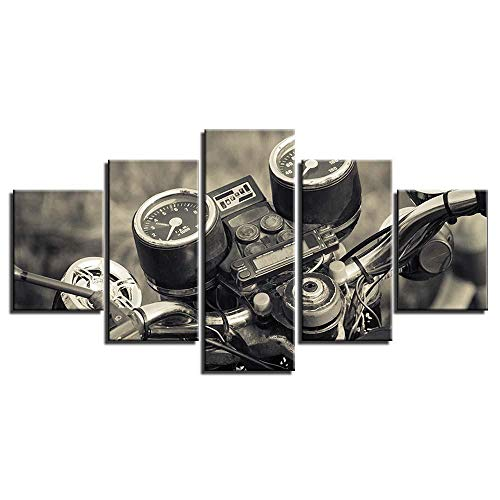 Canvas Painting 5 Pieces Prints Wall Art Motorcycle Mountain Bike Suv Track Home Decor Creative Pictures Oil For Gift Living Room Bedroom Decorations Unframed Artwork
