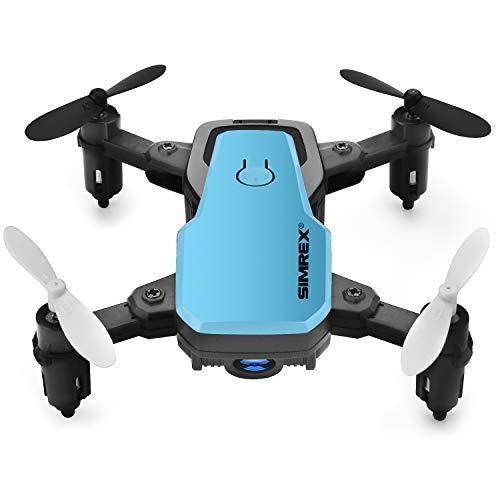 SIMREX X300C Mini Drone con cámara WiFi HD FPV Plegable RC Quadcopter RTF 4CH 2.4GHz Control Remoto sin Cabeza Control de altitud Super Easy Fly para Entrenamiento Azul
