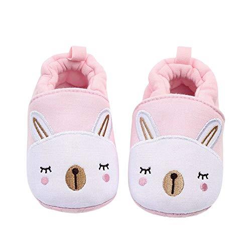 Plus Nao(プラスナオ) ファーストシューズ ベビーシューズ ルームシューズ 赤ちゃん 靴 室内用 室内履き 滑り止め付き ゴム入り 可愛い ア 11cm ウサギ×ピンク