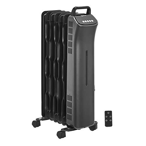 Amazon Basics Portable Oil-Filled Digital Radiator Heater with 7 Wavy ECO-Fins and Remote Control, 1500W, UK Plug- Black