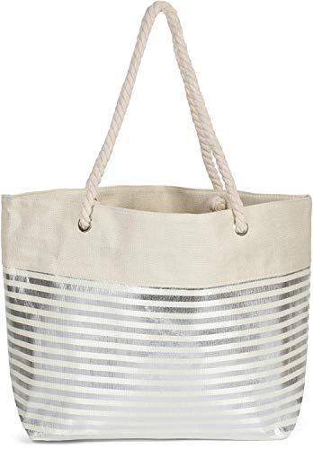 styleBREAKER Damen XXL Strandtasche mit Metallic Streifen und Reißverschluss, Schultertasche, Shopper 02012281, Farbe:Beige-Silber