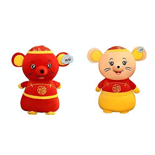Fancylande pluche dier ratten rood geel ratten Nieuwjaar mascotte pop Chinese dierenriemteken Traditioneel Lucky raad Doll geschikt voor nieuwjaarsgeschenken Verlengd