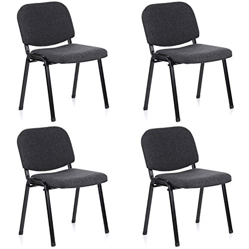 hjh OFFICE 704520 silla de confidente XT 600 lote de 4 tejido negro / antracita, apilable, acero estable, 4 sillas