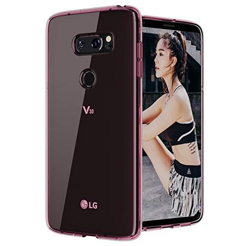 LG V35 Schutzhülle, transparent, LG V30 / LG V30 Plus / LG V30S ThinQ / LG V30S / LG V35 ThinQ Hülle, [Slim ThinQ], kratzfest, TPU-Gel Slim Fit, weiche Silikon-Schutzhülle für LG V30 (Crystal Pink)