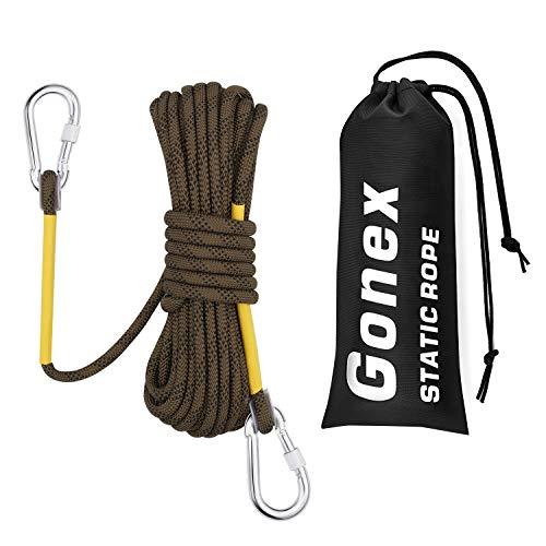Gonex Corda da Arrampicata, Paracord Corde di Sicurezza Arrampicata Protezione Rappel Escursione Fuga Fuoco Attrezzature di Soccorso, 8mm di Diametro 14KN Alta Resistenza con Moschettone (10 Metri)