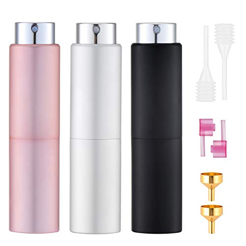 Toureal 20ml Atomizador Perfume (3 Piezas) Perfumador Dispensador, Botellas de Viaje, Spray Pulverizador Pequeño para Colonia (Plata, Rosa, Negro)