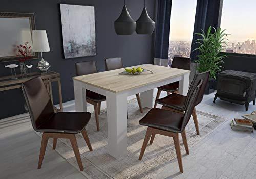 Home innovation - Table de salle à manger et séjour, 140 cm rectangulaire, chêne clair et blanc, mesures : 80 L x 138 Longueur 75 cm Hauteur jusqu'à 6 personnes