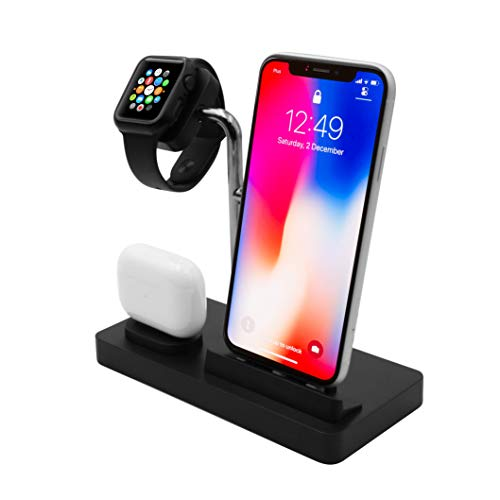 Macally Airpod iPhone iWatch Charging Station - A Home for Your Devices - Compatible with All iPhone, iWatch, Airpod Series - Use Only Factory Provided Cables - 3 in 1 iPhone Charging Stand (Black)