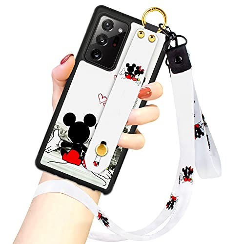 Cartoon Case for Samsung Galaxy Note 20 Ultra 5G Case 6.9 Inch Cute Mickey Mouse Cartoon Character Design with Lanyard Wrist Strap Band Holder Shockproof Protection Bumper Kickstand Cover