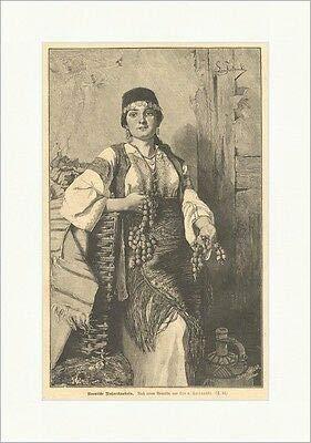 Kunstdruck Bosnische Nußverkäuferin Fortunski Handel Tracht Schmuck Frauen Holzstich E 6796