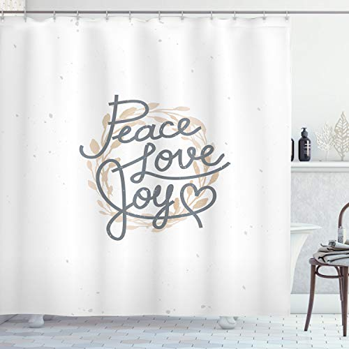 ABAKUHAUS Freude Duschvorhang, Schriftzug Liebe Freude Zitat, mit 12 Ringe Set Wasserdicht Stielvoll Modern Farbfest & Schimmel Resistent, 175x200 cm, Beige Grau
