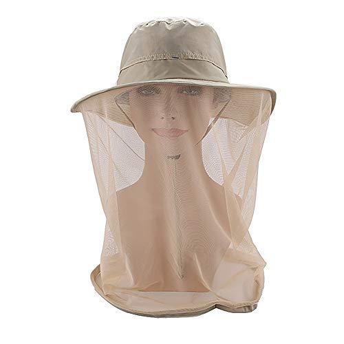 KISSBELLY Moskito Kopfnetz Hut Sommer Anglerhut mit Insektenschutz Sonnenhut für Outdoor Angeln Wandern Reisen