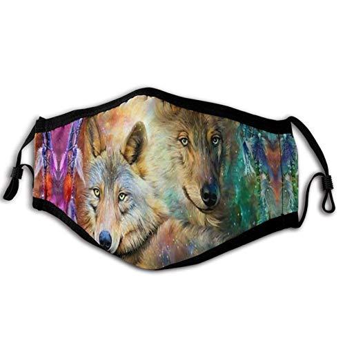 ULNIKU-T Magic Wolf Dream Catcher - Cubierta facial resistente al viento para adultos y hombres, anti filtro contra el polvo, UV, ajustable, reutilizable, pasamontañas al aire libre