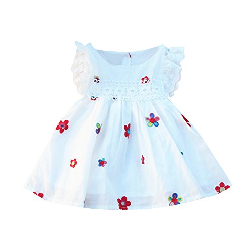 Vovotrade® Summer Bébé Filles Baby Girls Dresses Robes Floral Strawberry Broderie Sans Manches Enfants Vêtements (White-flower, 24M)